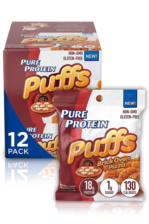 Pure Protein Puffs, Brick Oven Pizza, 18g Protein, Non-GMO, Gluten Free 1.05 oz, 6 Count (Pack of 2)