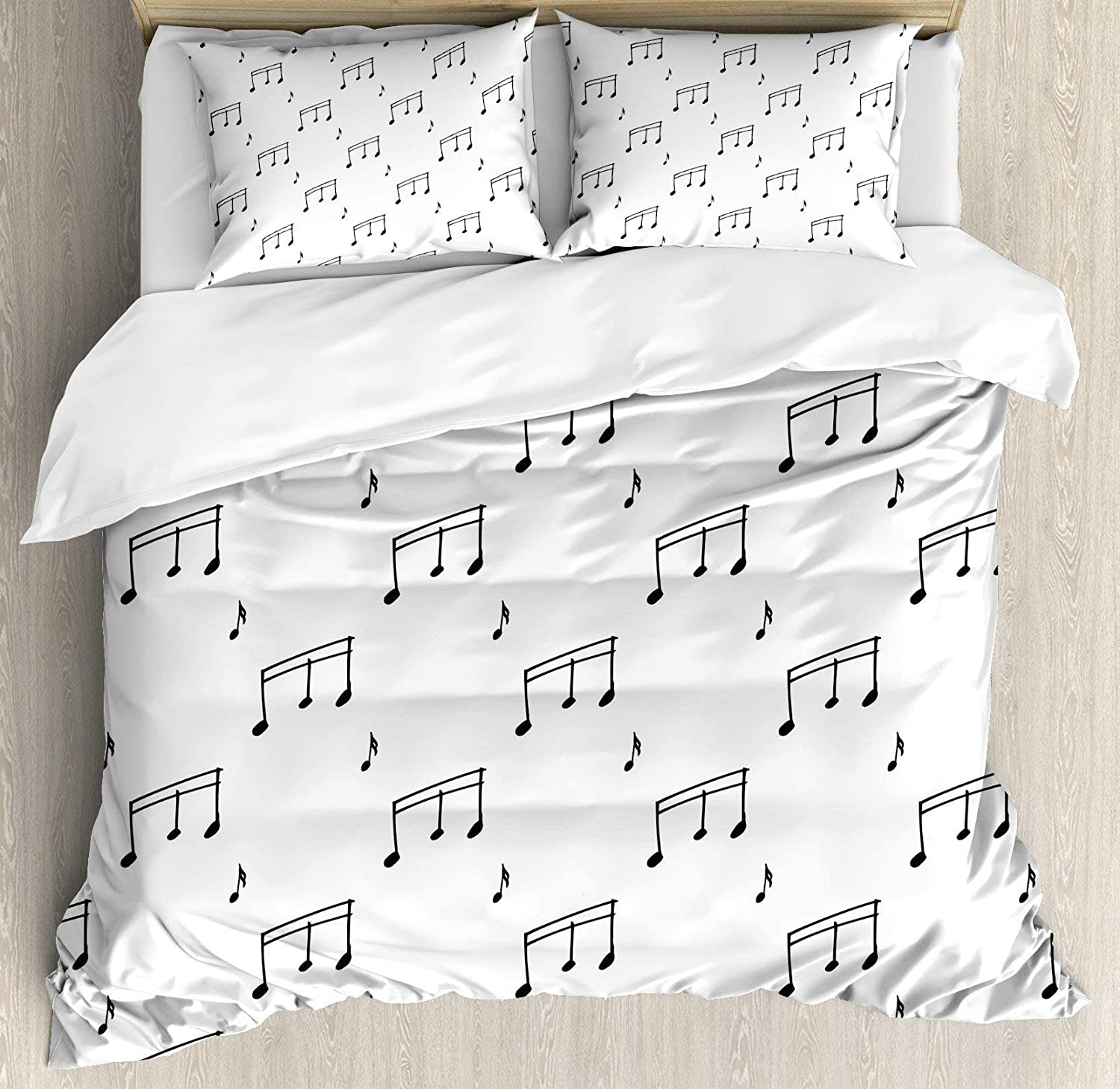 USOPHIA Music 4 Pieces Bed Sheets Set Full Size, Musical Notes Theme Melody Sonata Singing Song Clef Tunes Hand Drawn Style Pattern Floral Duvet Cover Set, Charcoal Grey
