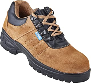 Neosafe A5022_8 Brawn, Sporty Look, Breathable Sued Brown Leather Safety Shoes with Steel Toe, Size 8