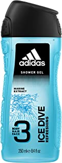 Adidas Ice Dive 3 In 1 Body, Hair And Face Shower Gel For Men, 250ml