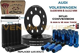 Venum wheel accessories 4 Pc Audi & Volkswagen 57.1 MM Hub Black Hub Centric Spacers 5 MM & 12 MM Thick + Stud Conversion Kit W/Blue Racing Lug Nuts (Replaces Lug Bols) - Fits Aftermarket Wheels