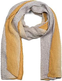 styleBREAKER Damen Schal plissiert mit Farbverlauf und Gitter Muster, Crash Look, Stola, Tuch 01017105
