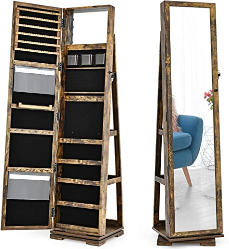 wholesale CHARMAID 360° Rotating Jewelry Armoire with Higher discount Full Length Mirror, Standing Lockable popular Jewelry Cabinet Organizer, Large Storage Capacity, Inside Makeup Mirror, Rear Storage Shelves (Rustic Brown) sale