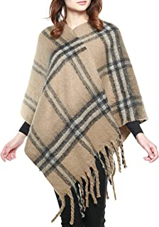 APPARELISM Women's Winter Trendy Pattern Knit Ruana Cape Pullover Poncho Top with Fringe.