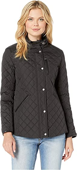 Quilted Barn Jacket with Faux Leather Trim