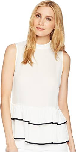 Georgette Sleeveless Mock Neck Peplum Layer with Piping Detail
