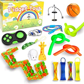 MHMYDIS Fidget Toys Set, Sensory Toys Pack for Stress Relief and Anti-Anxiety for Kids/Adults, Pack of Squeeze Balls, Soybean Squeeze, Flippy Chain, Zipper Bracelets,Fidget Hand Toys & More