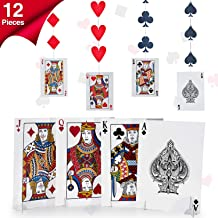 Set de Decoración de Las Vegas, Incluye 8 Decoración de Naipes de Centro de Mesa de Noche de Carta y 4 Pancartas Colgantes de Casino para Suministros de Noche de Casino Cumpleaños Fiesta Temática