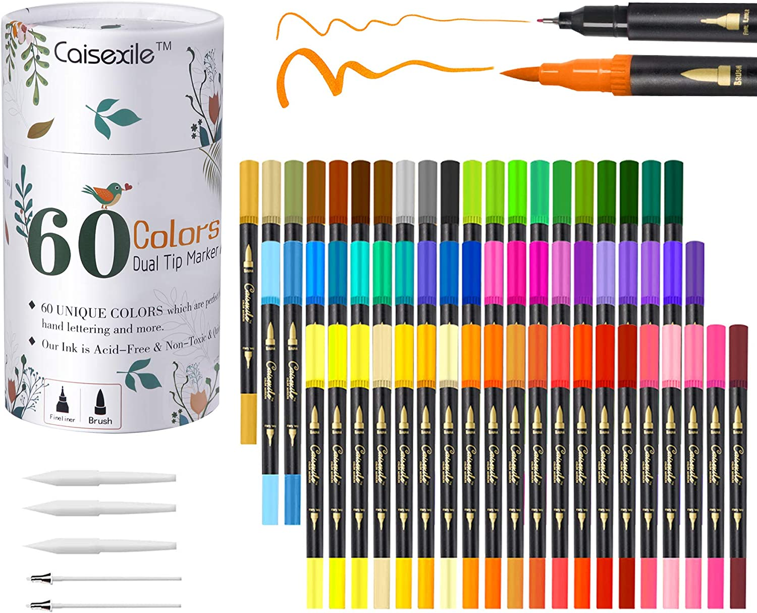 Dual Tip Brush Pens 60 Color Markers Online limited product 120 Set Art Nibs Free shipping New Fineliners
