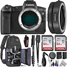 Canon EOS R Mirrorless Digital Camera Body w/Canon Mount Adapter EF-EOS R & Advanced Photo and Travel Bundle - Includes Canon USA Warranty, Altura Photo Backpack, 2pcs SanDisk 64gb SD Card, Monopod photo