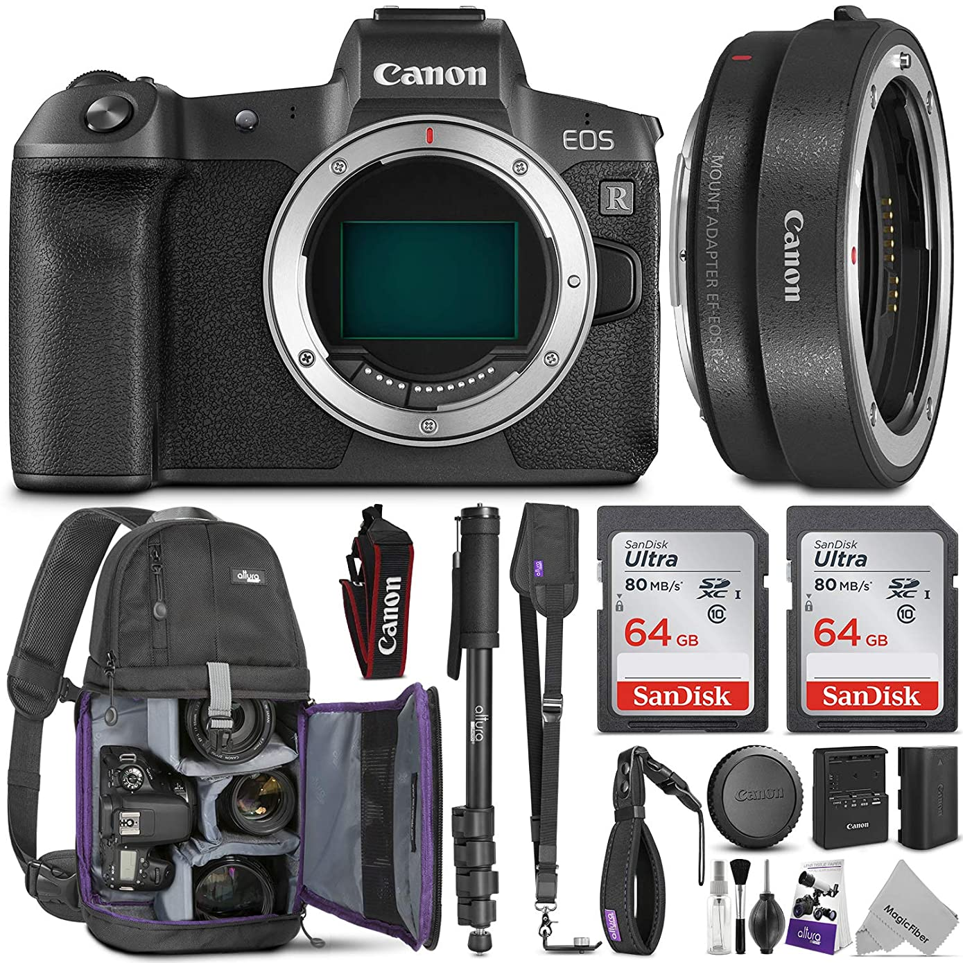 Canon EOS R Mirrorless Digital Camera Body w/Canon Mount Adapter EF-EOS R & Advanced Photo and Travel Bundle - Includes Canon USA Warranty, Altura Photo Backpack, 2pcs SanDisk 64gb SD Card, Monopod
