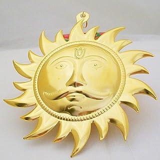 SunAstro Large Surya Dev Devta Symbol Wall Hanging Lord Sun God Face Mask Art Vastu Yantra Chakra Golden Metal Home Decora...