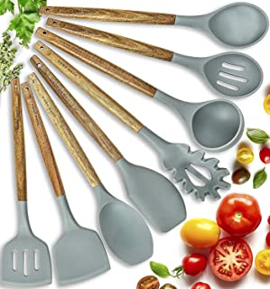 Home Hero Silicone Cooking Utensils Kitchen Utensil Set – 8 Natural Acacia Wooden..