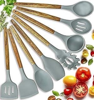 Home Hero Silicone Cooking Utensils Kitchen Utensil Set - 8 Natural Acacia Wooden Silicone Kitchen Utensils Set - Silicone Utensil Set Spatula Set - Silicone Utensils Cooking Utensil Set