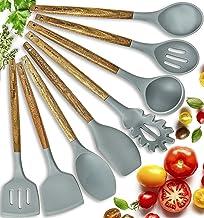 Home Hero Silicone Cooking Utensils Kitchen Utensil Set - 8 Natural Acacia Wooden Silicone Kitchen Utensils Set - Silicone...