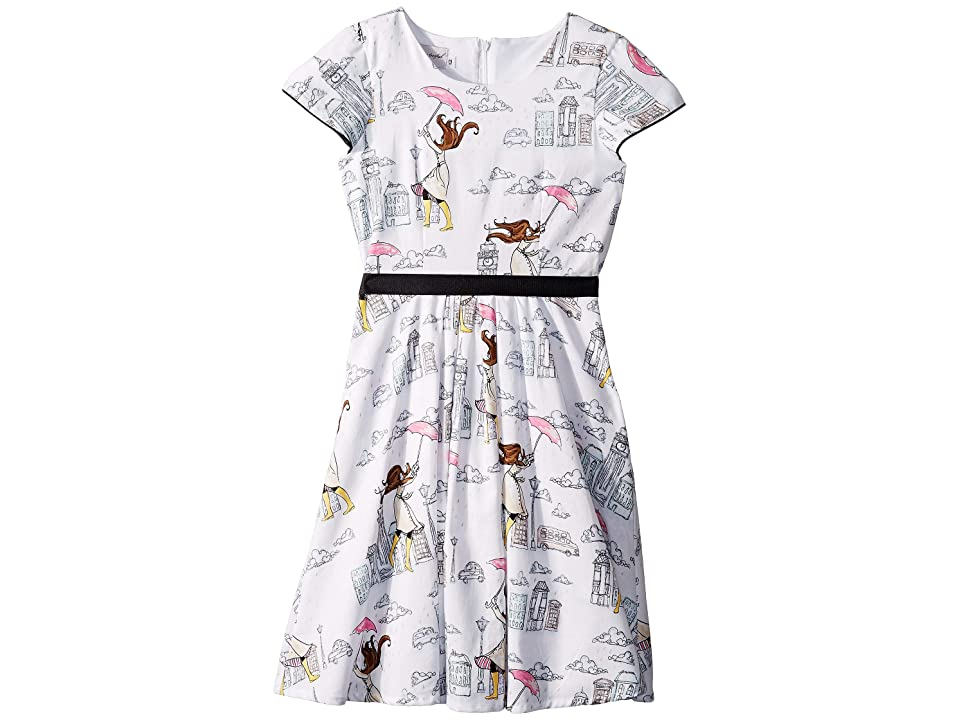 fiveloaves twofish London Girl Fit N Flare Dress (Big Kids) (White) Girl