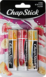 ChapStick (1) Pack Lip Balm Sticks - 3pc Set Includes: Peaches & Cream, Strawberries & Cream, Bananas & Cream - Paraben Free
