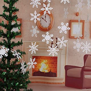 LeeSky Christmas Party Decorations,27Pcs Glittery White Snowflake Winter Wonderland Hanging Garland Flags -Christmas Home ...