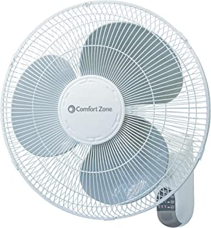 Comfort Zone CZ16WR 16-inch Quiet 3-Speed Wall Mount Fan with Remote Control, Timer and..