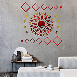 Best Decor Sun Flame 12 Square Red with 20 Butterfly Golden Code 409 Acrylic Mirror 3D Wall Sticker Decoration for Kids Ro...
