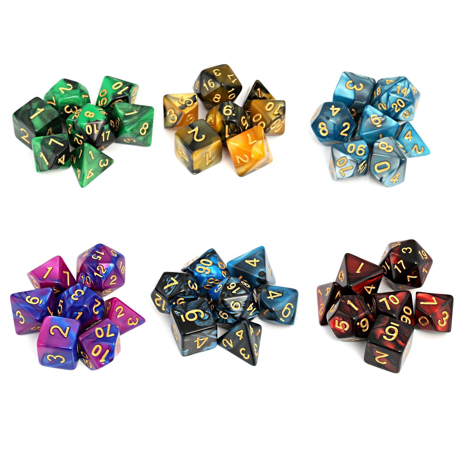 Moncolis Dados Poliedricos 6 x 7 (42 Piezas) Dados de Juego para Dungeons and Dragons DND RPG MTG D20 D12 D10 D8 D6 D4 Juegos de Cartas de Mesa: Amazon.es: Juguetes y juegos