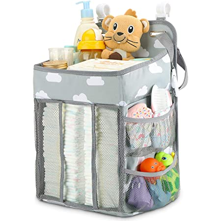 Hanging Diaper Caddy Organizer Diaper Stacker For Changing Table Crib Playard Or Wall Nursery Organization Baby Shower Gifts For Newborn Gray Cloud Baby