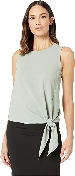 Sleeveless Front Tie Soft Texture Blouse