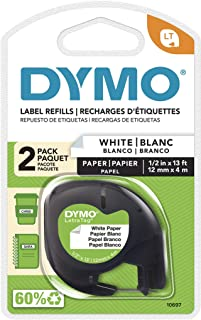 Dymo 10697 LT Paper Labels for LetraTag Label Makers | Black Print on White | 12mm x 4m Roll | Self-Adhesive | 2-Pack