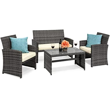 Best Choice Products 4-Piece Wicker Patio Furniture Set w/Table, Tempered Glass, 3 Sofas, Cushioned Seats - Gray