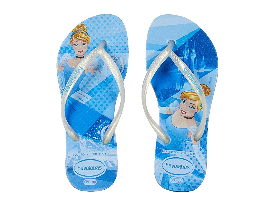 Havaianas Kids Slim Princess Flip Flops (Toddler/Little Kid/Big Kid) (Blue Splash) Girls Shoes