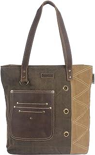 Sunsa Damen groß Handtasche. Tasche aus Canvas & Leder. Nachhaltige Produkte, big bag Schultertasche, braun Shopper Should...