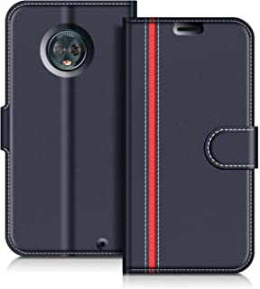 COODIO Funda Motorola Moto G6 Plus con Tapa, Funda Movil Motorola Moto G6 Plus, Funda Libro Motorola Moto G6 Plus Carcasa Magnético Funda para Motorola Moto G6 Plus, Azul Oscuro/Rojo