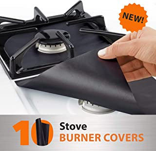 10 pack, gas stove protector, stove burner liners, stovetop range protectors, set top..