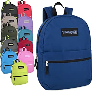 24 Pack- Classic 17 Inch Backpacks in Bulk Wholesale Back Packs for Boys and Girls
