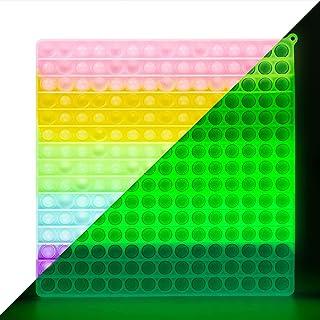EVTI Jouet Anti Stresse Carré Géant pour Adulte et Enfant, Autisme - Jeu Pince Sensorielle Phosphorescent XXL - Pop Push I...