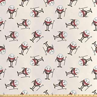 Lunarable Alice in Wonderland Fabric by The Yard, Humpty Dumpty Egg Dancing Character in Fairytale Fantasy Story, Decorative Satin Fabric for Home Textiles and Crafts, Pink Brown Red