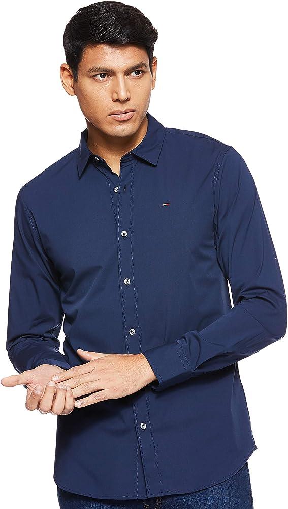 Tommy hilfiger original stretch, camicia casual per uomo,97% cotone, 3% elastan DM0DM04405 B