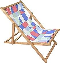 Astella Adjustable Wooden Cabana Beach Chair, Multi Color Geo