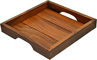 Fine Craft India Elegant Wooden Hand Crafted Fruit Serving Tray For Dining Table 10 inch