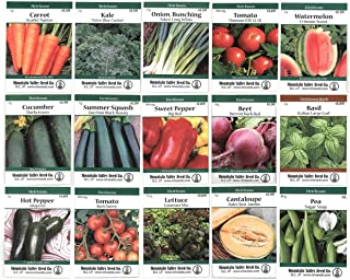 Heirloom Vegetable Garden Seed Collection – Assortment of 15 Non-GMO, Easy Grow, Gardening Seeds: Carrot, Onion, Tomato, Pea, More