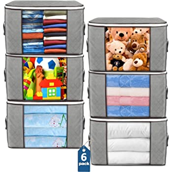 Large Storage Bags, 6 Pack Clothes Storage Bins Foldable Closet Organizers Storage Containers with Durable Handles Thick Fabric for Blanket Comforter Clothing Bedding 90L (Gray)