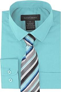 4341d264 Luca Gabriel Toddler Boy's Long Sleeve Formal Button Down Dress Shirt & Tie  Set