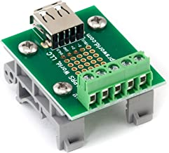 USB A Jack Breakout Board to Screw Terminals with DIN Rail Clips