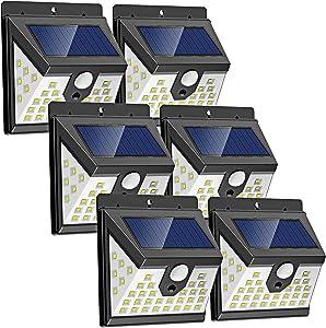 Solar Motion Sensor Light Outdoor, [6 Pack/3 Modes/40 LED] LANSOW Solar Powered Security Lights Wireless IP 65 Waterproof Lights for Wall Deck Yard Garage Porch Garden Patio Fence(6pk-Black)