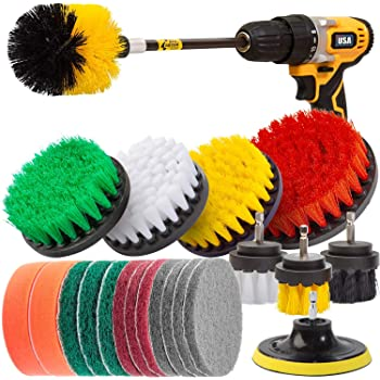 Holikme 22Piece Drill Brush Attachments Set,Scrub Pads & Sponge, Power Scrubber Brush with Extend Long Attachment All purpose Clean for Grout, Tiles, Sinks, Bathtub, Bathroom, Kitchen