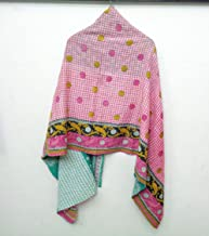 Cotton Scarf and Stole Indian Antique Hand Nakshi Kantha Work Embroidery