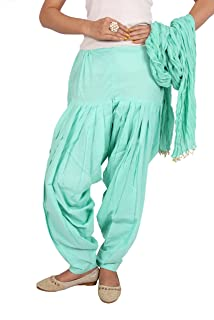 Rama Women's Cotton Set of Baby Aqua Solid Fabric Full Patiala & Dupatta Set