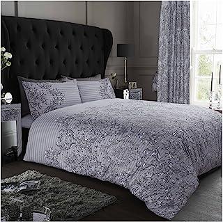 GAVENO CAVAILIA Luxurious Empire Damask Printed Duvet Cover, Easy Care Soft & Cosy Quilt Bedding Set, Polycotton, Grey, Su...