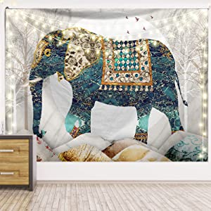 Elephant Forest Moon Tapestry,Trippy Hippie Boho Indie Aesthetic Wall Tapestry,High Quality and HD Pattern Wall Haning,Suitable for Bedrooms Living Rooms Studios Women Men Girls Boys ,79L*59W in,Blue