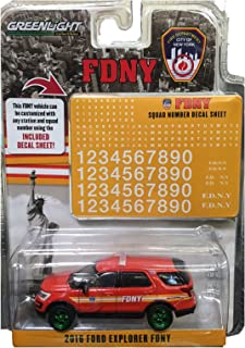 Greenlight Rare Chase Green Machine 42823 2016 Ford Explorer FDNY 1:64 Scale Diecast New York Fire Dept 1:64 Scale